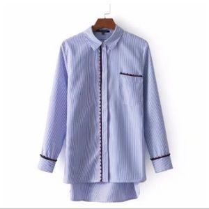 NWT. Zara White/Blue Cotton Stiped Shirt. Size S.